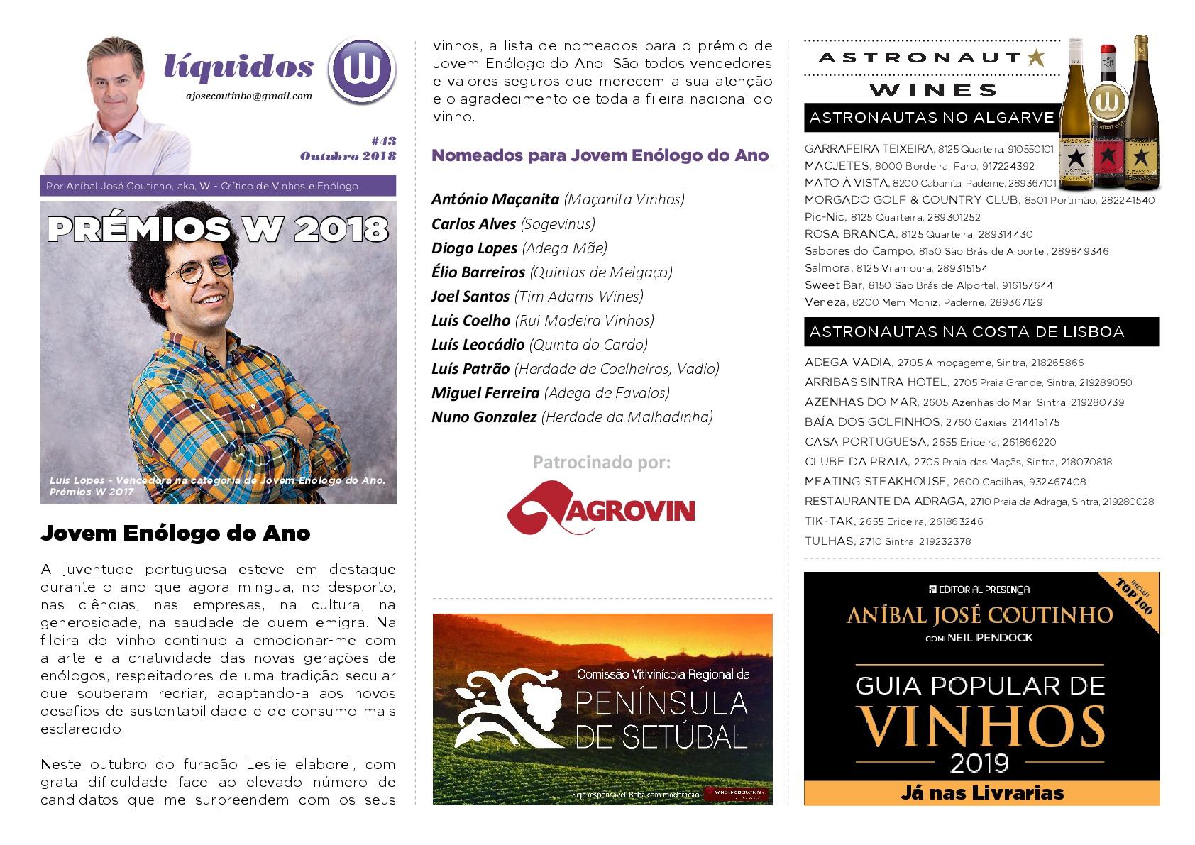 Newsletter Premio Joven Enólogo del año: Premios Anibal Coutinho 2018